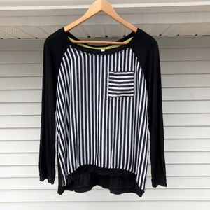 Black and White Striped Front Long Sleeve Shirt